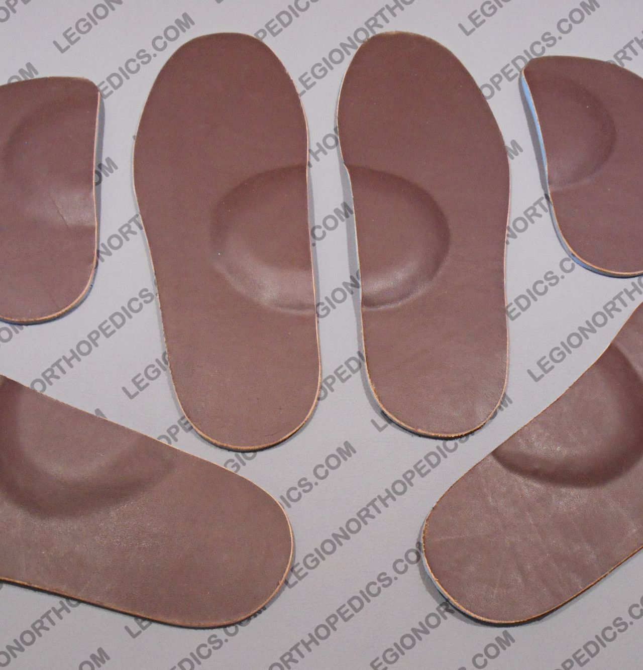 Leather insoles with arch